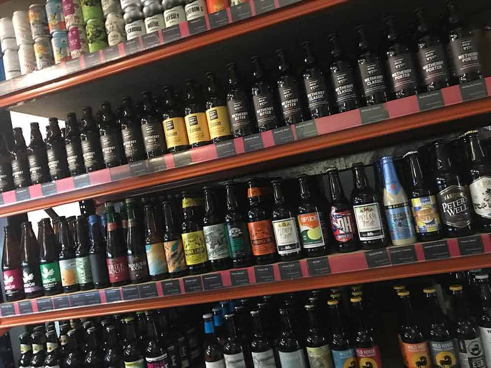 Wetherby brewery bottles on a shelf